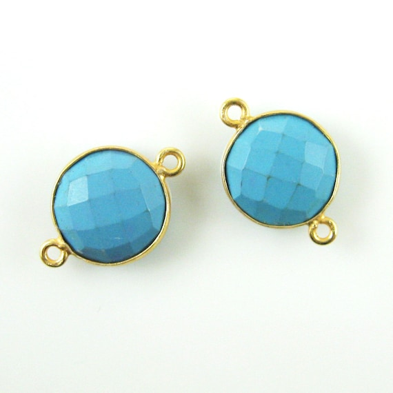 Bezel Gem Links Faceted Teardrop Shape 2 Pcs Sterling Silver Turquoise