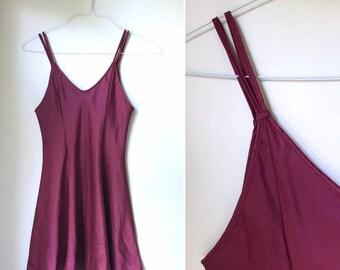 74f21c5716 Vintage 1990s burgundy satin strappy slip / St. Michael slinky mini slip -  small