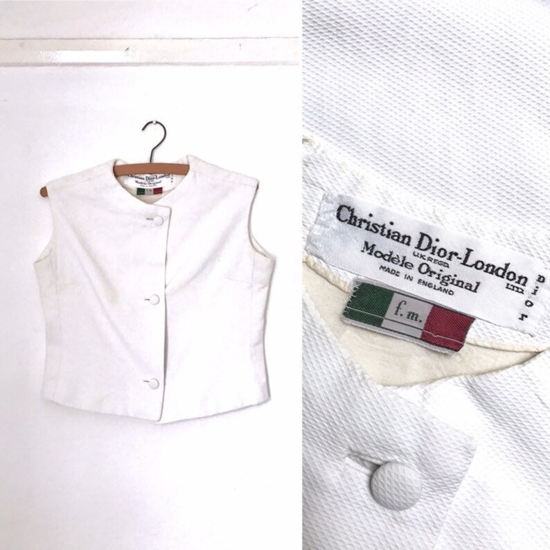 acc4ff29715 Vintage 1960s Christian Dior white sleeveless shell top