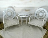 White Wicker Furniture - 18 quot Doll Table and Chairs - FREE SHIPPING