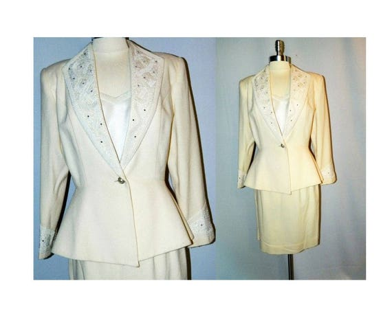 Nolan Miller Ivory Wool Suit With Beading and Rhinestones - FREE SHIPPING