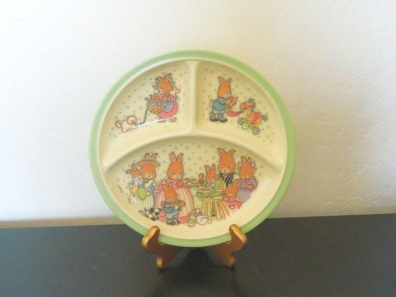Bunny Family FREE SHIPPING Zak Designs Divided Melamine Plate Cara 1994 Children/'s Plate