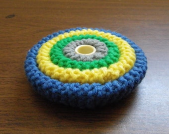 CROCHETED PIN CUSHION, Bright Colors, Plastic Thimble Center, Vintage Handmade Sewing Supply
