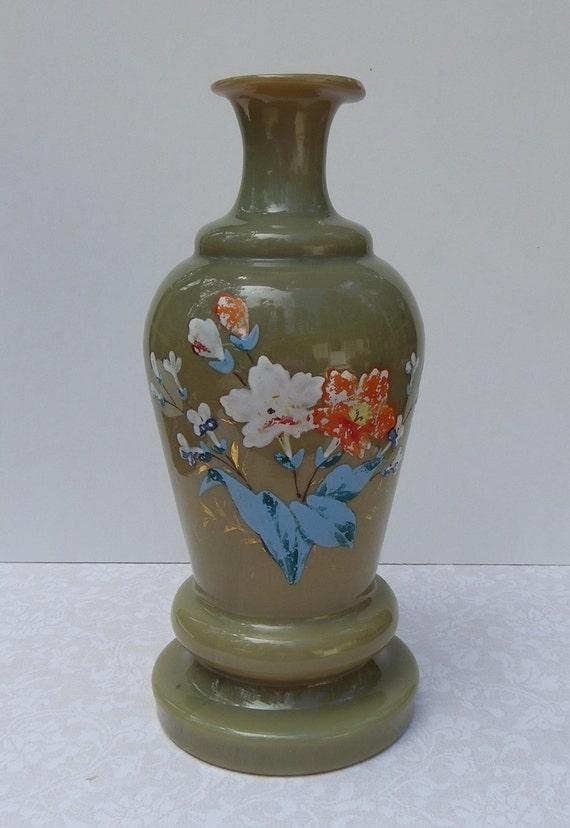 Bristol Glass Vase 1800s Victorian Hand Painted Etsy