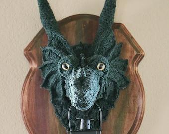 Mounted Dragon Head - Faux Taxidermy - Crochet Dragon Head - Guardian Dragon Lamp - Fantasy Wallhanging
