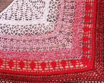 Edlothia Shawl - Crochet Shawl - Great Gift - Ladies Shawl - Woman's Fashion - Lace Wrap - Wedding Shawl - Fantasy Cosplay - Red Wrap