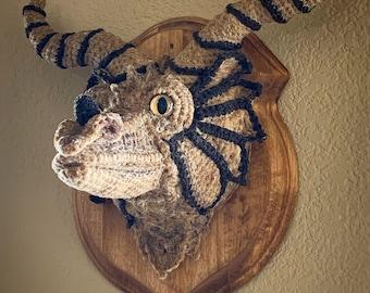 Mounted Dragon Head - Faux Taxidermy - Crochet Dragon Head - Guardian Dragon - Fantasy Wallhanging
