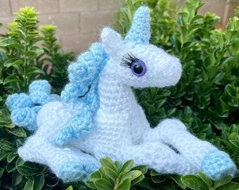 Baby Last Unicorn - Amigurumi Doll - Crochet Laying Unicorn - SDCC Exclusive