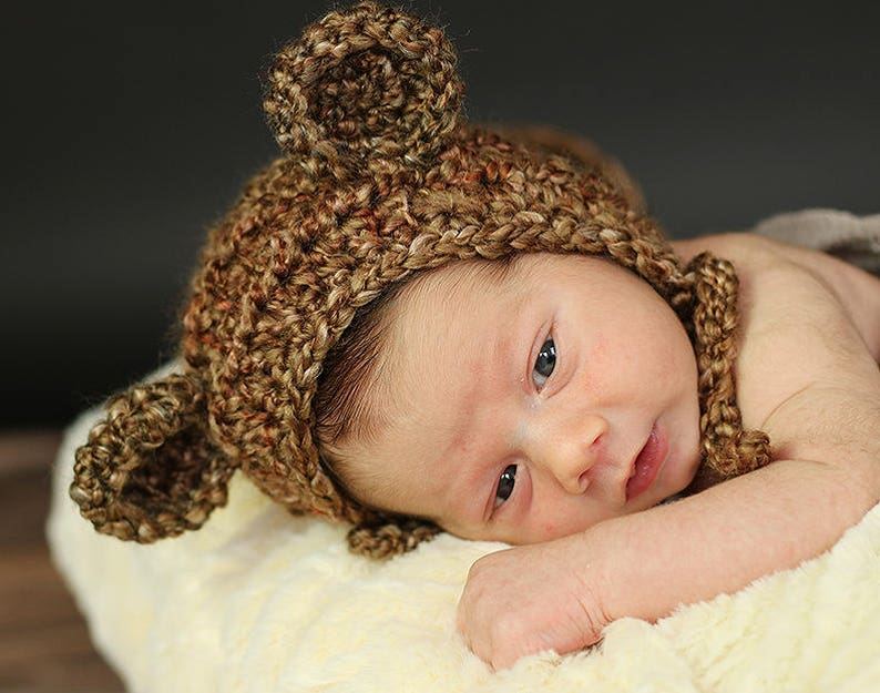 Newborn Teddy Bear Bonnet  Baby Photography Prop  Baby image 0