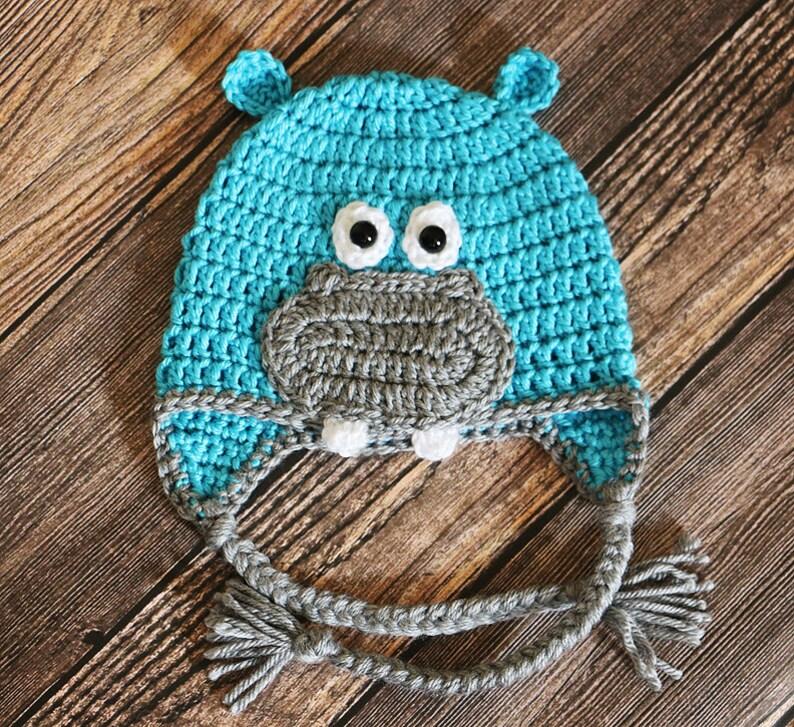 Hippo Hat  Crocheted Hippopotamus Baby Hat  Newborn Photo image 0