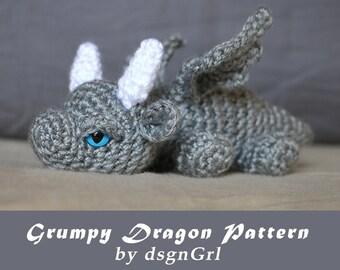 PATTERN - Crochet Dragon Pattern - Grumpy Dragon by dsgnGrl - Undead Zombie Dragon - Amigurumi Baby Dragon - Amigurumi Doll - PATTERN