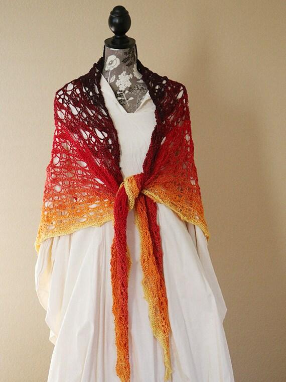 Aranuir Schal Großes Geschenk Damen Schal Gehäkelt Fancy Damen Mode Spitzen Schal Hochzeit Schal Fire Fantasy Cosplay Wrap
