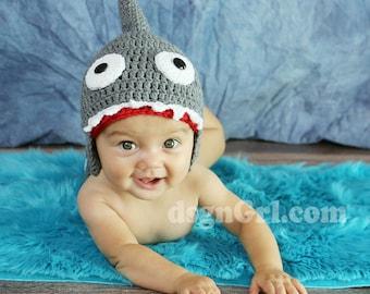 Shark Attack Hat - Crochet Baby Hat - Baby shower gift - Baby Shark Hat - Crochet Shark Hat - Photo Prop - Adult Shark Hat