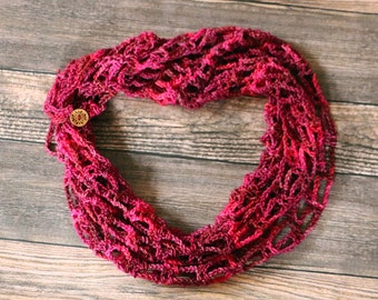 Crochet Wool Infinity Scarf - Valentine's Gift - Superwash Wool Scarf - Gift for Mom - Pink Scarf - Artfully Simple Crocheted Infinity Scarf