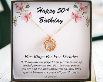 50th Birthday Gift For Her 50 Women Five Rings Decades Necklace 5 Circles Dainty
