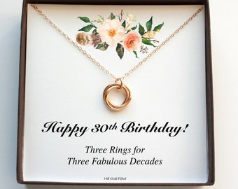 30th Birthday Gift For Her 30 Women Decades Necklace Three Rings Interlock Thirty