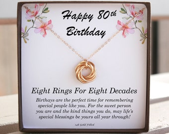 80th Birthday For Women Gift 80 Her Eight Rings Decades Necklace 8 Circle Dainty