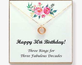 30th Birthday Gift For Her 30 Women Necklace On Card Sister Friend 3 Rings