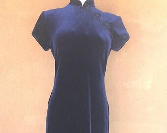 1990's - Navy Blue Velvet Maxi Dress with Frogs Appliqué