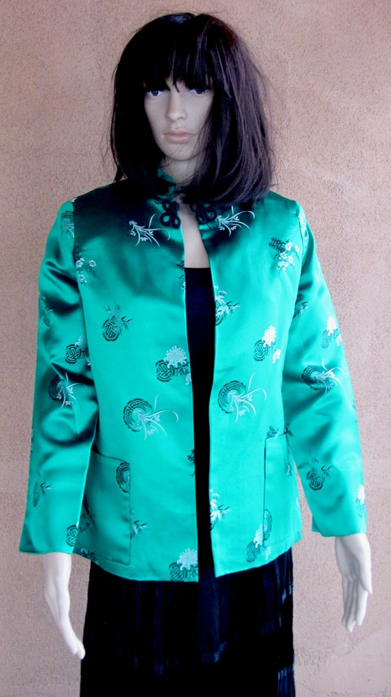 Gorgeous bright green Chinese satin jacket with lo