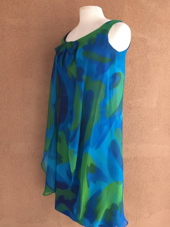 1960's Cocktail Dress - Blue and Green Crepe Sleev