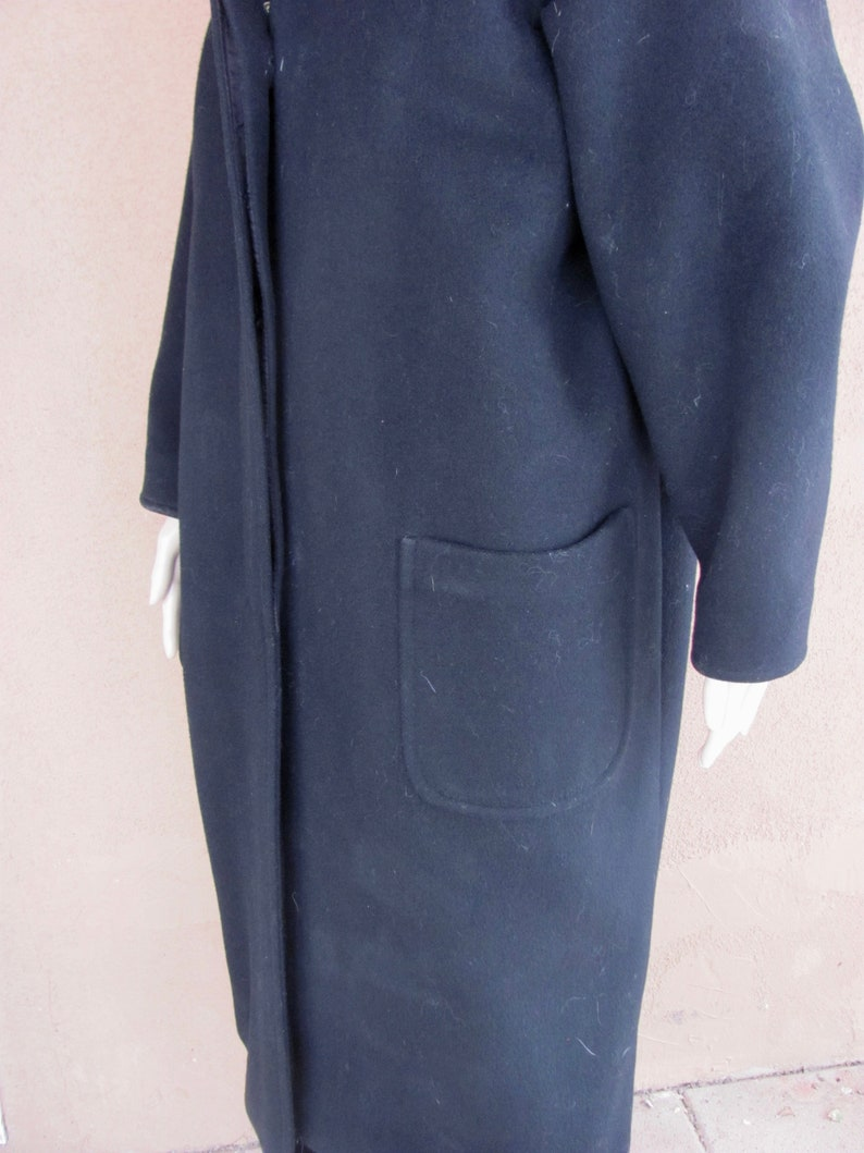 Vintage 80/'s Black Wool Overcoat with large front pockets and hood Larry Levine for Saks Fifth Avenue