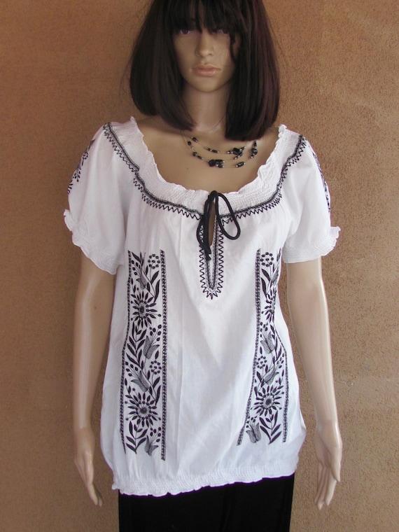 Peasant blouse, Boho style, white cotton with blac