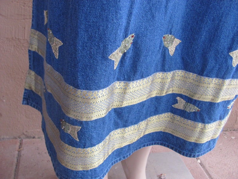 Vintage 80/'s with golden embroidered fishes Maxi Sleeveless Jean dress