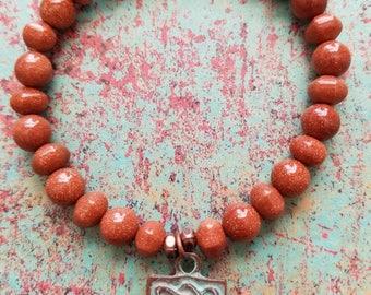 Hamsa bracelet/Yoga bracelet/ Goldstone bracelet/Boho bracelet/Patina copper charm bracelet