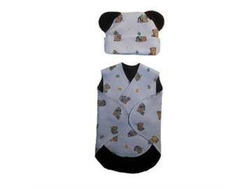 UNISEX BABY Teddy Bears and Toys NICU Snuggler Wrap and Hat with Ears Set.  2 Micro Preemie and Preemie Sizes d753649eb5a6