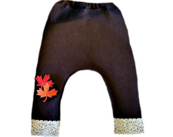 31a884078 Unisex Baby Brown Pants with Fall Leaves. 6 Sizes for Preemie, Newborn and  Toddlers up to 24 Months. 100% Soft Cotton Knit.