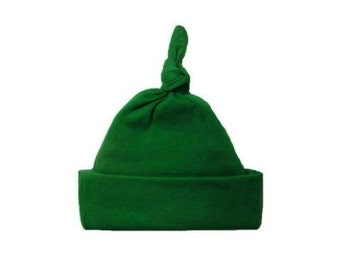 Kelly Green Knotted Baby Hat. 100% Cotton Knit. Double Thick with a Built  in Cap to Stay on Baby s Head 7 Preemie 0fafb2425bbe