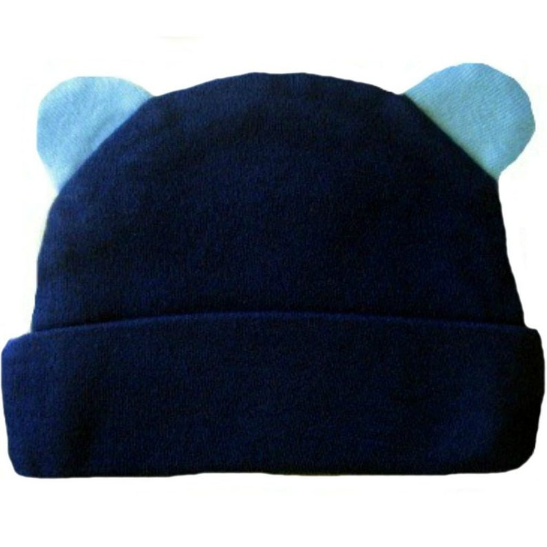 f16c3531e91 Navy Blue Baby Hat with Ears. 100% Soft Cotton Knit. 5 Preemie