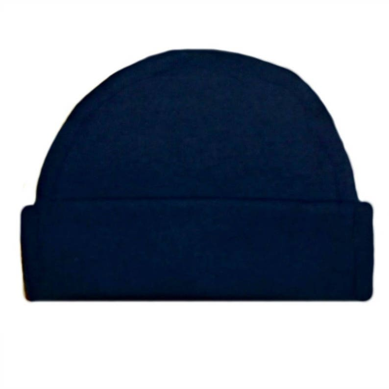 8334b767ca6 Navy Blue Capped Baby Hat. 100% Cotton Knit. Double Thick with