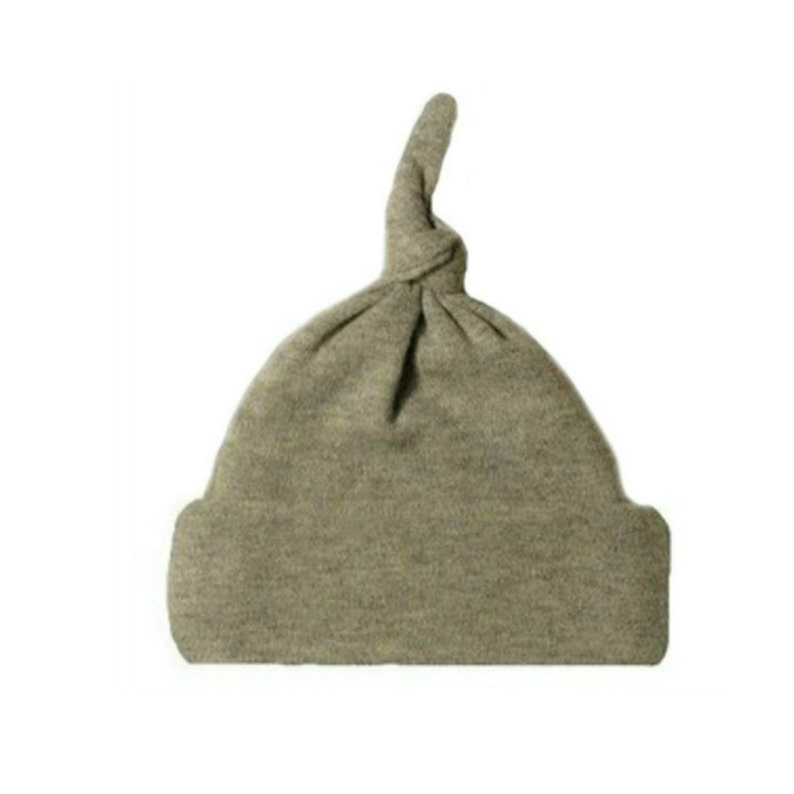 3036cc81633 100% Cotton Knit. Double Thick with a Built in Ca... Heather Gray Knotted  Baby Hat. 100% Cotton Knit. Double Thick with a Built in Cap to Stay on ...