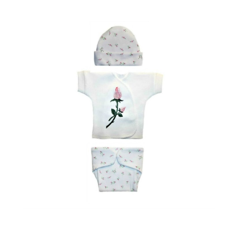 Shirt Hat Pants Booties White Baby Clothing Outfit with Bear Preemie Newborn