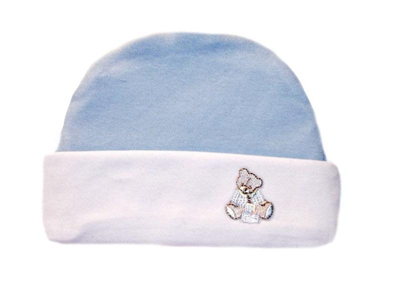809452f334b Baby Boys  Teddy Bear Blue Hat with White Brim. 100% Soft