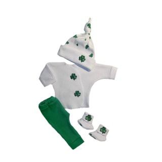 Irish Blarney Unisex Baby 4 Piece Clothing Outfit 4 Sizes Micro Preemies, Preemie, Newborn Babies to 3 Months Perfect for St. Patrick's Day!