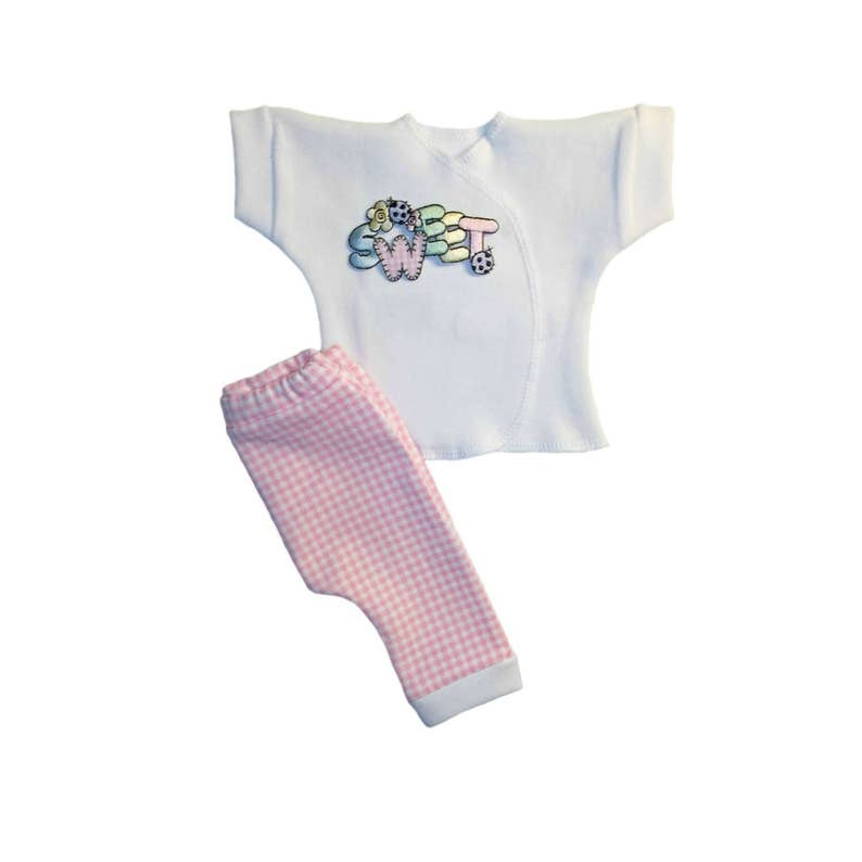 4 Preemie and Newborn Sizes Baby Girl Sweet Pink Gingham Shirt and Pants Clothing Outfit Adorable Spring and Summer Coming Home Clothes