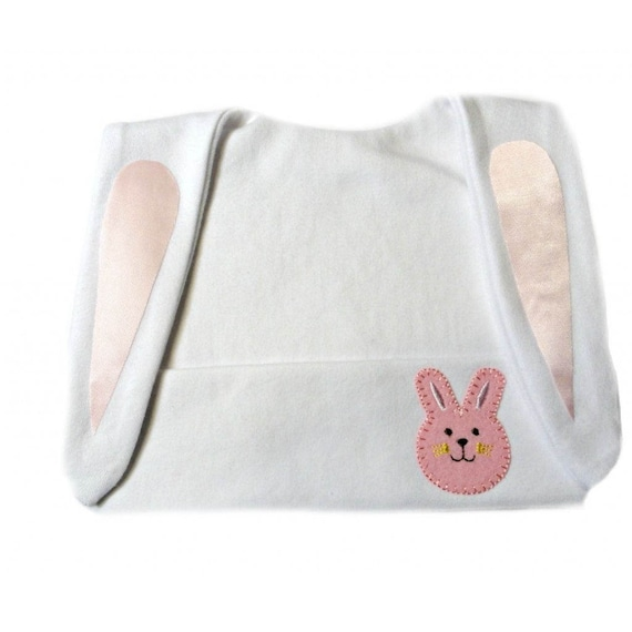Baby Girl White Bunny Hat with Pink Ears 7 Preemie Newborn Toddler Sizes