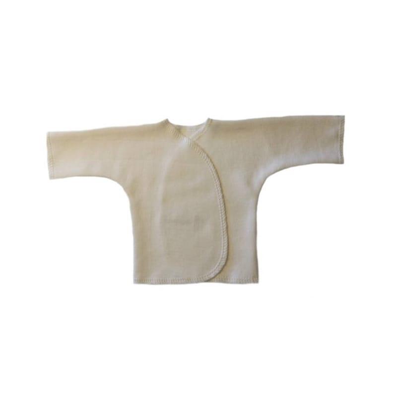Ivory Unisex Baby Long Sleeve T-Shirt 4 Sizes for Micro Preemies NICU Approved. Preemie /& Newborn Babies Cute Kimono Wrap Shirt