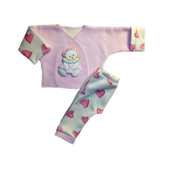 Baby Girls/' Sue Sue Bear and Hearts Pants Shirt Outfit 4 Preemie Newborn Sizes