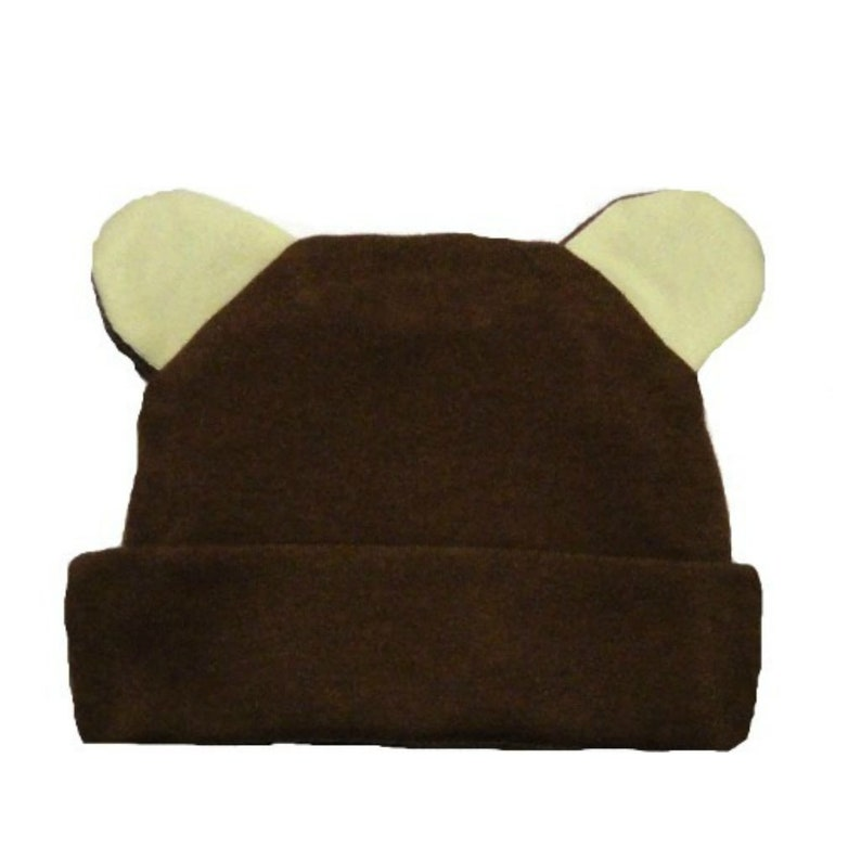 ff4f728ab6f Brown Baby Hat with Ears. 100% Soft Cotton Knit. 5 Preemie and