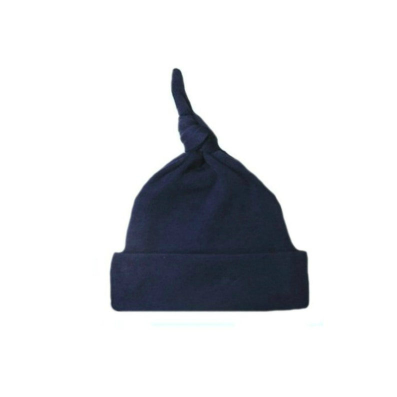 e6629a6e169 Navy Blue Knotted Baby Hat. 100% Cotton Knit. Double Thick