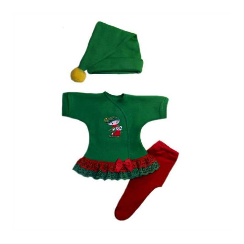 3546384d821ea Santa's Christmas Elf Baby Girl Dress Hat and Tights Set. | Etsy