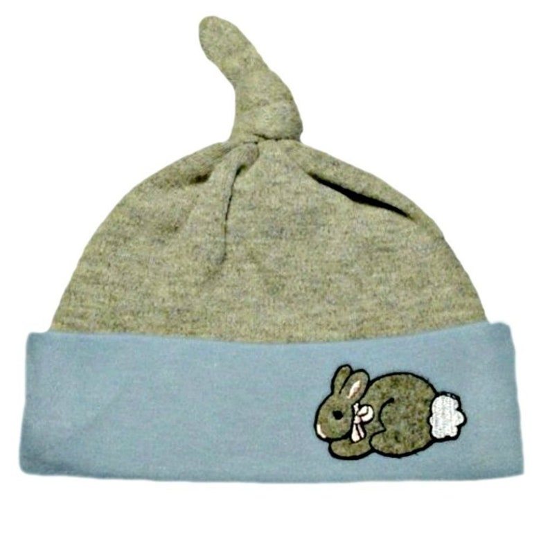 2d28e54e9bd Baby Boys Blue and Gray Bunny Knotted Hat. 7 Sizes for