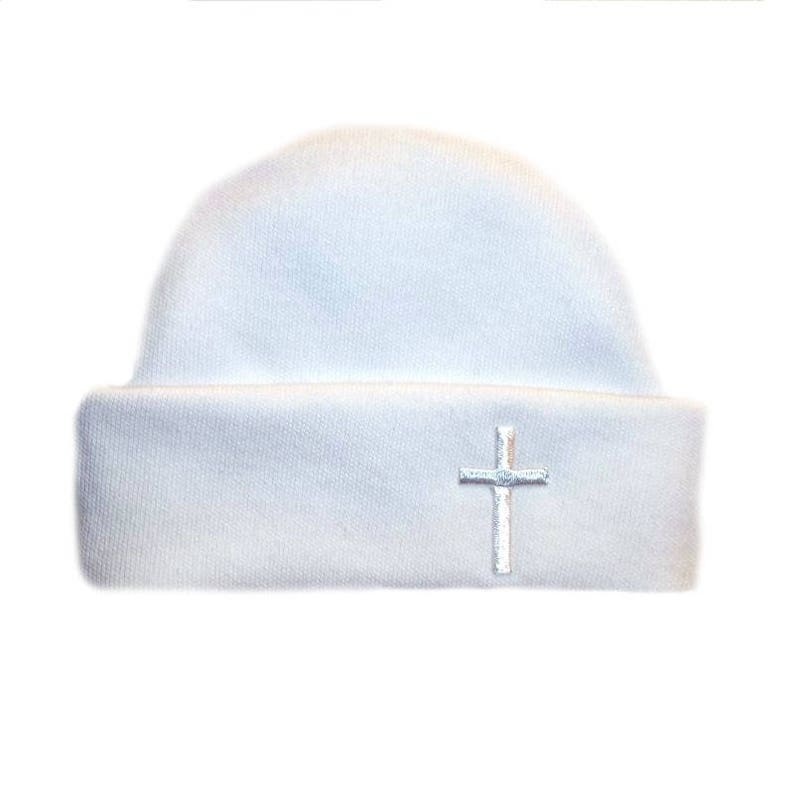 e18c58ea335 White Capped Hat with Cross. 5 Sizes for Micro Preemies