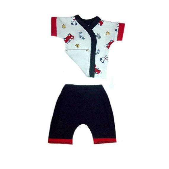 Preemie /& Newborn Sizes Baby Boys Dalmatian and Fire Trucks Short Clothing 4