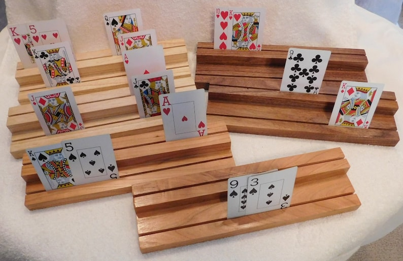 choice of 1 set handmade playing card holders handcrafted