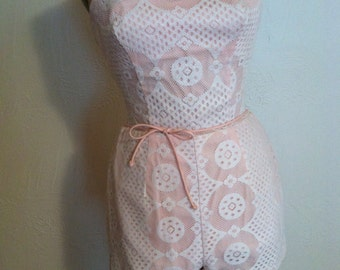 43319806acaf White Lace over Pink Cotton Vintage ROSE MARIE REID Spaghetti Strap Swim  Playsuit Romper S